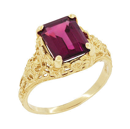 Edwardian Filigree Emerald Cut Rhodolite Garnet Engagement Ring in 14 Karat Yellow Gold