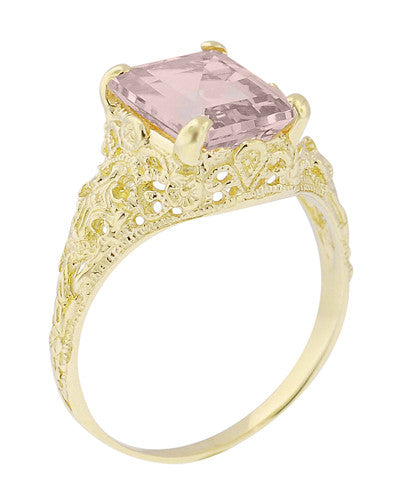 Emerald Cut Morganite Filigree Edwardian Engagement Ring in 14 Karat Yellow Gold - Item: R618YM - Image: 2