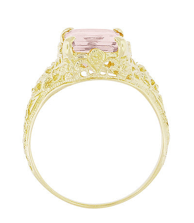 Emerald Cut Morganite Filigree Edwardian Engagement Ring in 14 Karat Yellow Gold - Item: R618YM - Image: 3