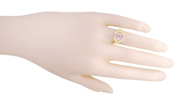 Emerald Cut Morganite Filigree Edwardian Engagement Ring in 14 Karat Yellow Gold - Item: R618YM - Image: 4