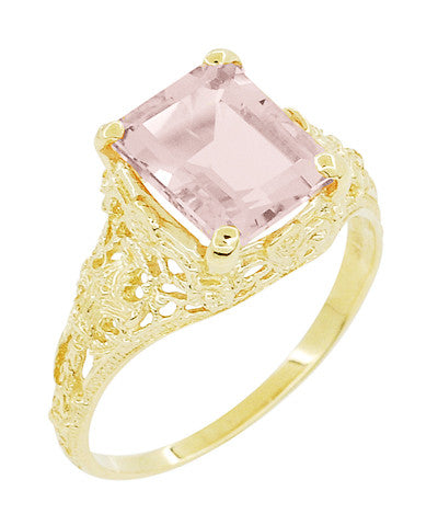 Emerald Cut Morganite Filigree Edwardian Engagement Ring in 14 Karat Yellow Gold - Item: R618YM - Image: 1