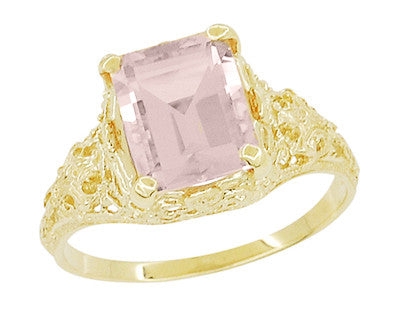 Emerald Cut Morganite Filigree Edwardian Engagement Ring in 14 Karat Yellow Gold