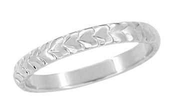 Palm Leaves Carved Wedding Ring in White Gold - 3mm Wide