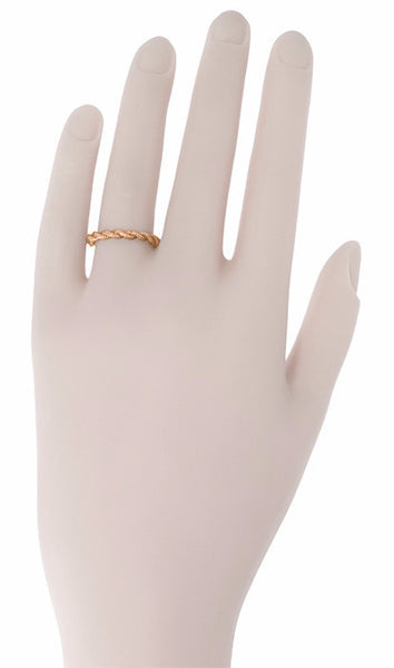 Stackable Love Twist Cable Wedding Band in 14K Rose Gold - Item: R621R - Image: 1