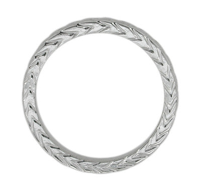 Art Deco 3mm Chevron Carved Sculptural Wheat Pattern Wedding Band in White Gold - Item: R622 - Image: 1
