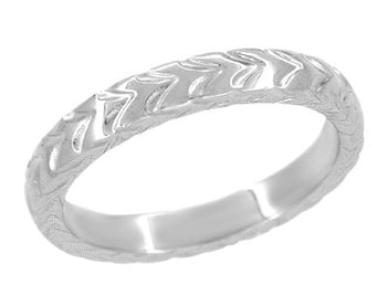 Art Deco 3mm Chevron Carved Wheat Pattern Wedding Band - 14K White Gold