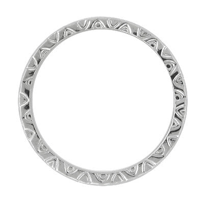 Mardi Gras Retro Carved Wedding Band in 14 Karat White Gold - 3mm - Item: R624 - Image: 1