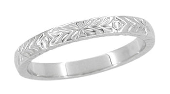Mardi Gras Retro Carved Wedding Band in White Gold - 3mm Wide