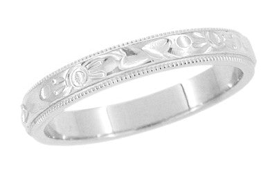 Art Deco Flowers and Leaves Millgrain Edge Engraved Wedding Band in White Gold