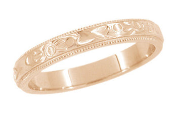 Art Deco Flowers and Leaves Millgrain Edge Engraved Wedding Band in 14 Karat Rose ( Pink ) Gold