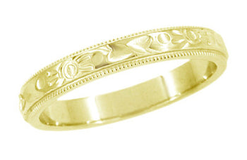 Yellow Gold Art Deco Flowers and Leaves Millgrain Edge Engraved Wedding Band