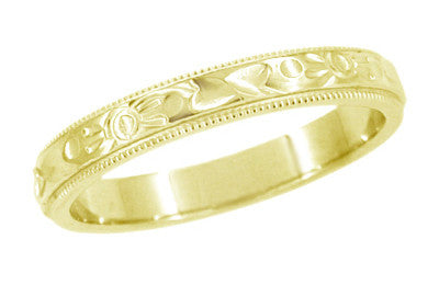 Art Deco Flowers And Leaves Millgrain Edge Engraved Wedding Band In 14  Karat Yellow Gold