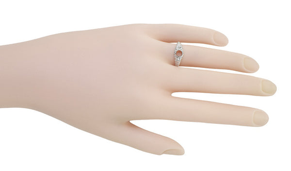 Art Deco Hearts and Diamonds 1/3 Carat Diamond Filigree Engagement Ring Setting in 14 Karat White Gold - Item: R627 - Image: 4