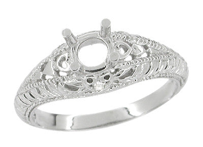 Art Deco Hearts and Diamonds 1/3 Carat Diamond Filigree Engagement Ring Setting in 14 Karat White Gold - Item: R627 - Image: 1