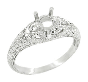Art Deco Hearts and Diamonds 1/3 Carat Diamond Filigree Engagement Semimount Ring in 14 Karat White Gold