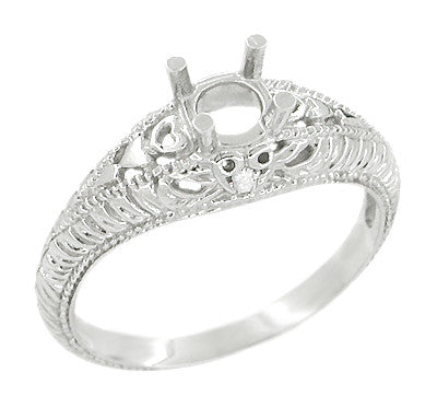 Art Deco Hearts and Diamonds 1/3 Carat Diamond Filigree Engagement Ring Setting in 14 Karat White Gold