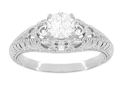 Art Deco Hearts and Diamonds Filigree Engagement Ring in 14 Karat White Gold - Item: R627WD - Image: 1