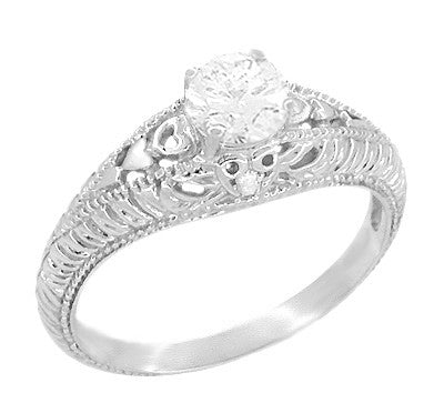 Art Deco Hearts And Diamonds Filigree Engagement Ring In