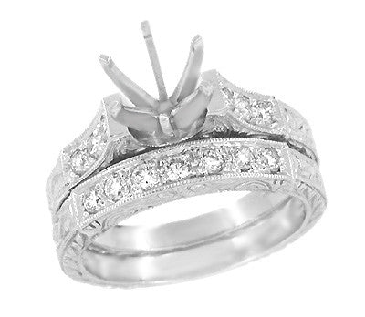 Art Deco Engraved Scrolls 1 Carat Diamond Engagement Ring Setting and Wedding Ring in Platinum - Item: R628P - Image: 1