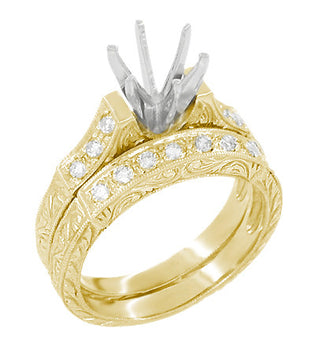 Art Deco Scrolls 1 Carat Diamond Engagement Ring Setting and Wedding Ring in 18 Karat Yellow Gold