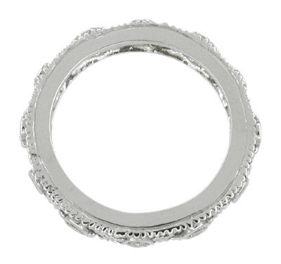 Windemere Art Deco Diamond Filigree Wedding Ring in 14 Karat White Gold - Size 6 1/2 - Item: R629 - Image: 1