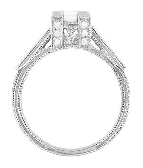 Art Deco 1/2 Carat Princess Cut Diamond Castle Engagement Ring in 18 Karat White Gold - Item: R630W - Image: 2