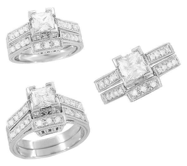 Art Deco 1/2 Carat Princess Cut Diamond Castle Engagement Ring in 18 Karat White Gold - Item: R630W - Image: 4