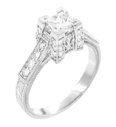 Art Deco 1/2 Carat Princess Cut Diamond Castle Engagement Ring in 18 Karat White Gold - Item: R630W - Image: 1