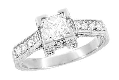 Art Deco 1/2 Carat Princess Cut Diamond Castle Engagement Ring in 18 Karat White Gold