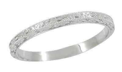 Art Deco Millgrain Floral Wedding Ring in 14 Karat White Gold