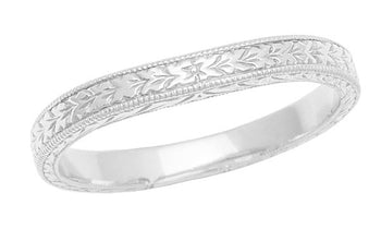 Art Deco Curved Engraved Wheat Wedding Band in 14 Karat White Gold