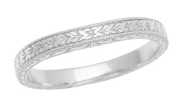 Art Deco Curved Wheat Wedding Band in Platinum