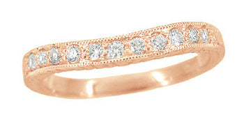Art Deco White Sapphire Engraved Curved Wheat Engraved Wedding Band in 14 Karat Rose ( Pink ) Gold