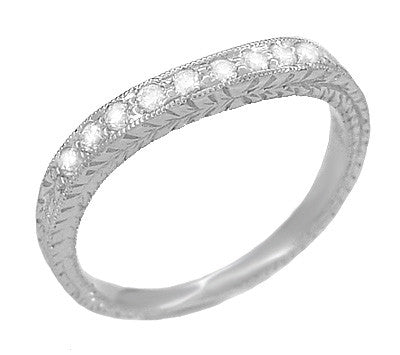 Art Deco Curved Engraved Wheat White Sapphire Wedding Band in 14 Karat White Gold - Item: R635WS - Image: 1