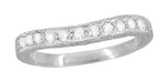 Art Deco Curved Engraved Wheat White Sapphire Wedding Band in 14 Karat White Gold