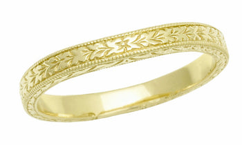 Art Deco Curved Engraved Wheat Wedding Band in 14 Karat Yellow Gold