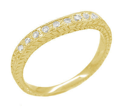 Art Deco Curved Engraved Wheat Diamond Wedding Band in 14 Karat Yellow Gold - Item: R635Y14D - Image: 1