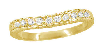 Art Deco Curved Engraved Wheat Diamond Wedding Band in 14 Karat Yellow Gold