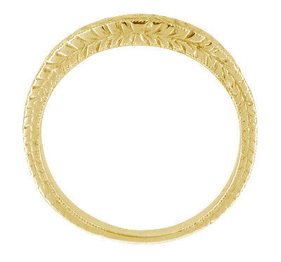 Art Deco Curved Engraved Wheat Diamond Wedding Band in 18 Karat Yellow Gold - Item: R635YD - Image: 2