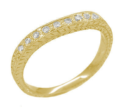 Art Deco Curved Engraved Wheat Diamond Wedding Band in 18 Karat Yellow Gold - Item: R635YD - Image: 1