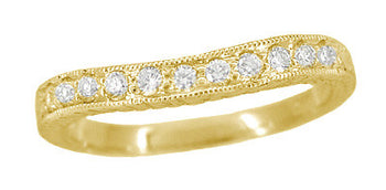 Art Deco Curved Engraved Wheat Diamond Wedding Band in 18 Karat Yellow Gold