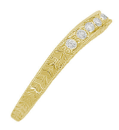 Art Deco Curved Wheat White Sapphire Wedding Band in 18 Karat Yellow Gold - Item: R635YWS - Image: 3