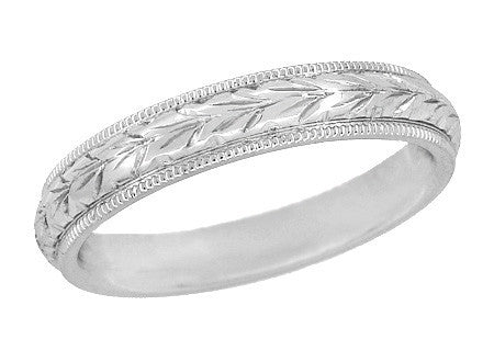 Art Deco Millgrain Edged Hand Engraved Wheat Wedding Ring in 14 Karat White Gold | 4mm Wide