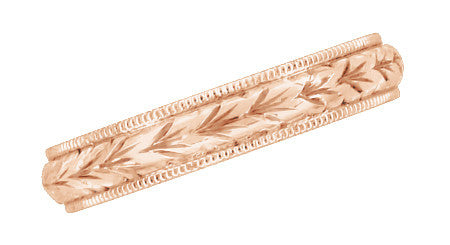 Art Deco Hand Engraved Wheat Wedding Ring in 14 Karat Rose Gold with Millgrain Edge - Item: R636R - Image: 2