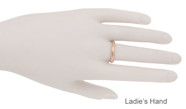 Art Deco Hand Engraved Wheat Wedding Ring in 14 Karat Rose Gold with Millgrain Edge - Item: R636R - Image: 3