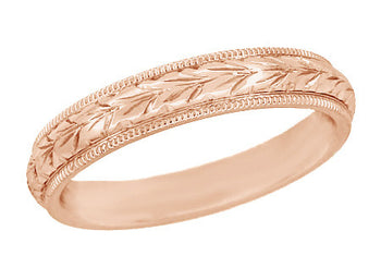 Art Deco Hand Engraved Wheat Wedding Ring in 14 Karat Rose Gold with Millgrain Edge