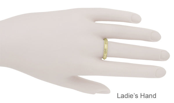 Yellow Gold Art Deco Millgrain Edged Hand Engraved Wheat Wedding Ring - Item: R636Y - Image: 3