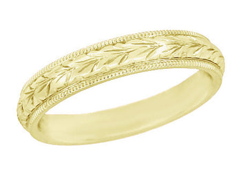 Art Deco Millgrain Edged Hand Engraved Wheat Wedding Ring in 14 Karat Yellow Gold