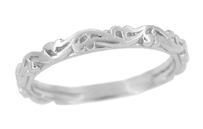 Art Deco Scrolls Wedding Band in 14 Karat White Gold