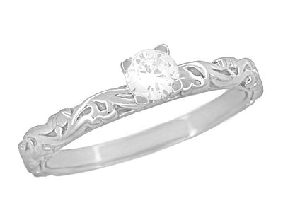 Art Deco Scrolls Solitaire Diamond Engagement Ring in Platinum